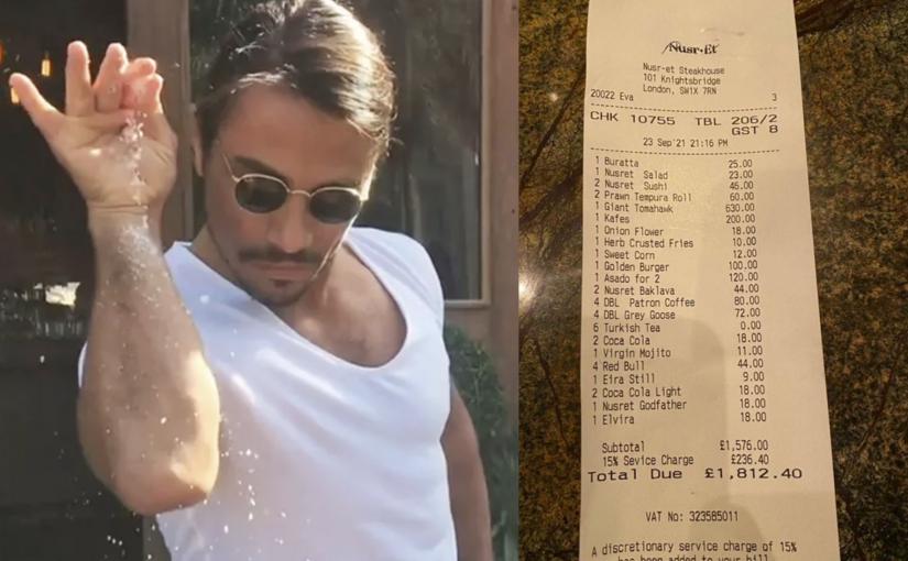 740 euros por um bife, é quanto você paga no restaurante do Salt Bae