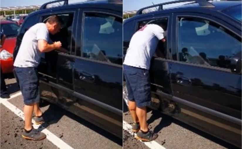 Homem quebra vidro de janela para salvar cachorro abandonado em carro quente